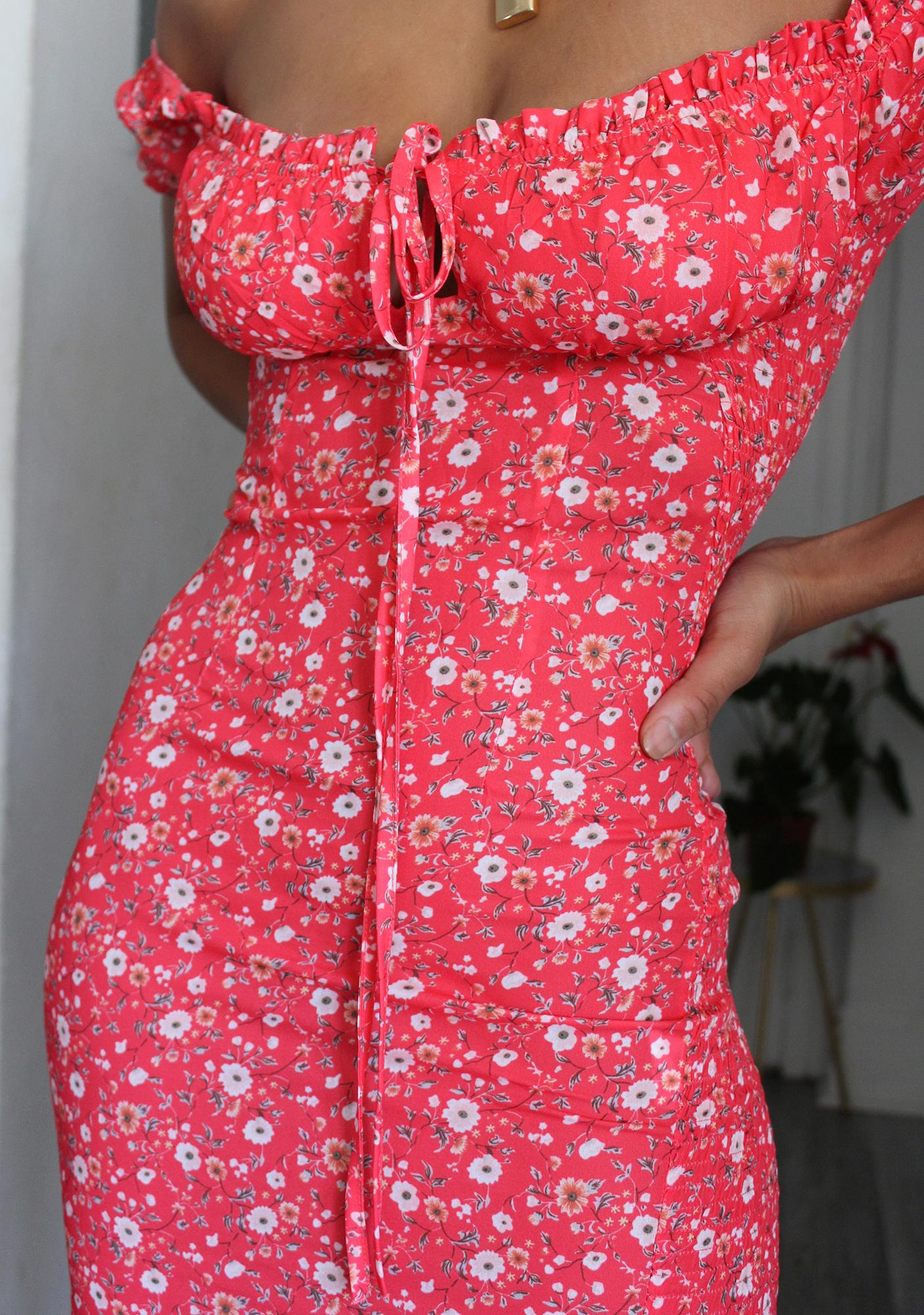Poppy Summer Picnic Off The Shoulder Dress