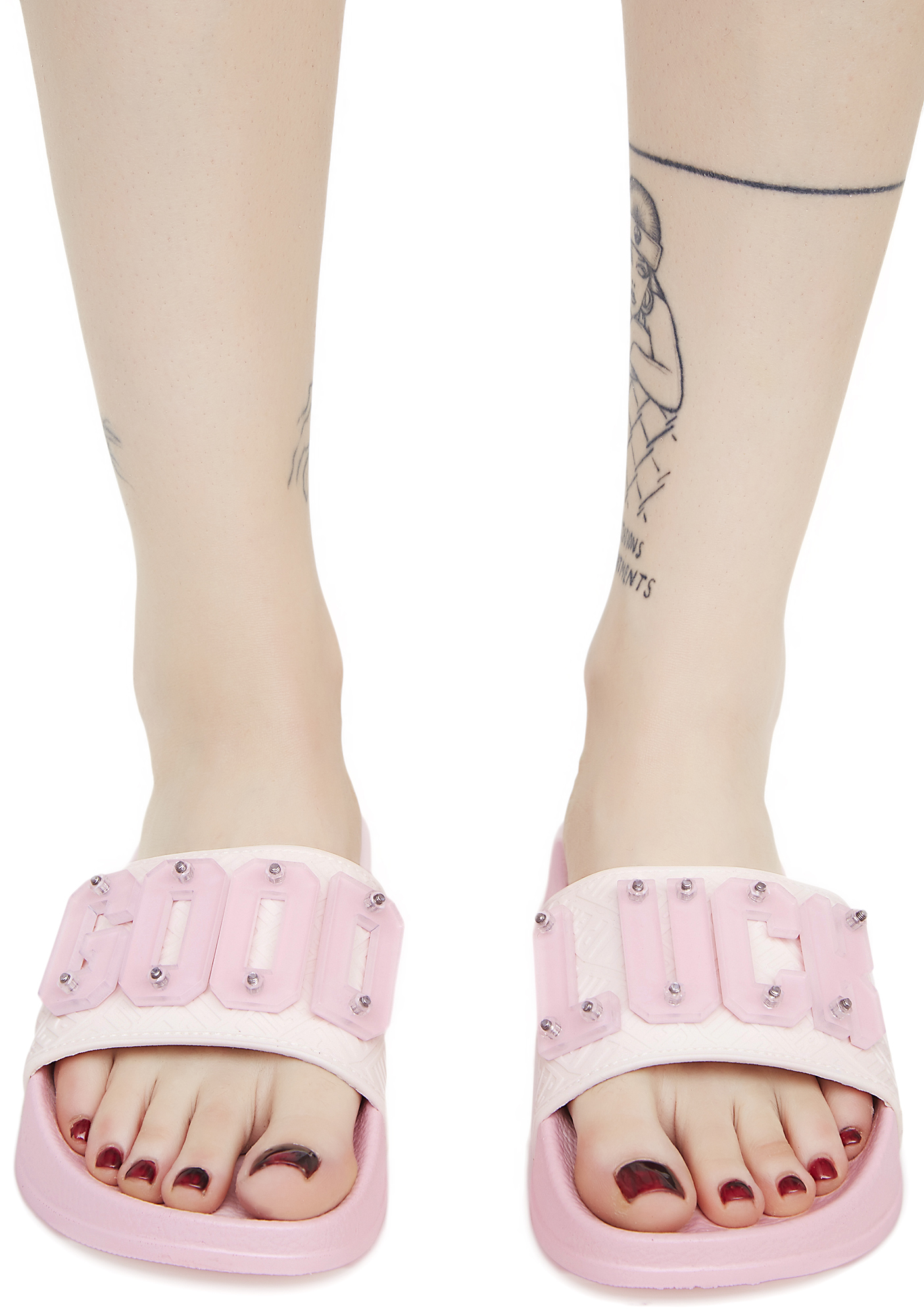 Pink Good Luck Slide Sandals