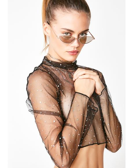 Diamante Mesh Crop Top