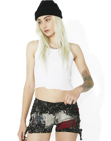 Bleach And Patch Lace-Up Shorts