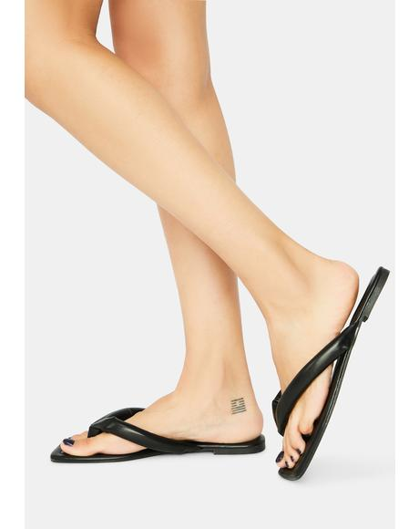 Noir Not A Flop Thing Slide Sandals
