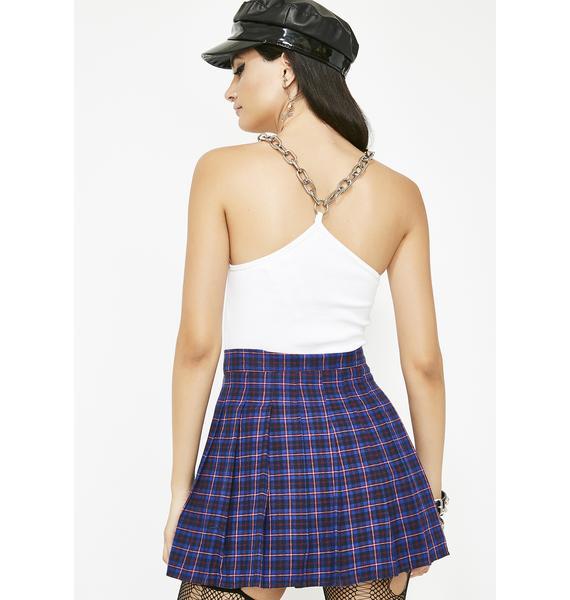 Berry None Ya Business Plaid Skirt
