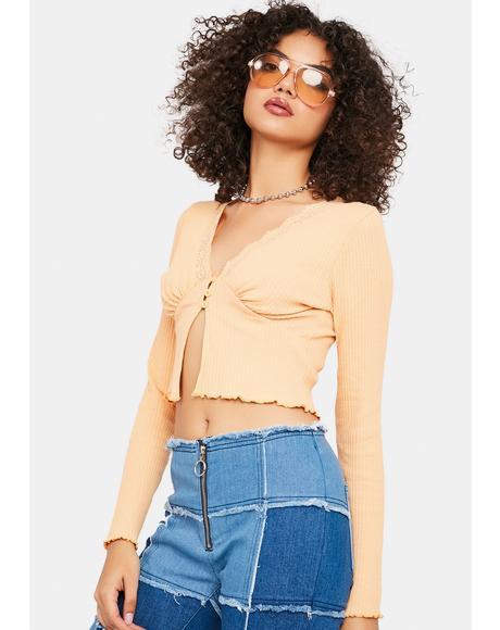 Peach V-Neck Lace Cardigan Top