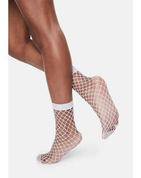 White All Net Glitter Anklet Socks