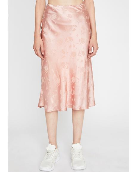 Rose Sway With Me Midi Skirt