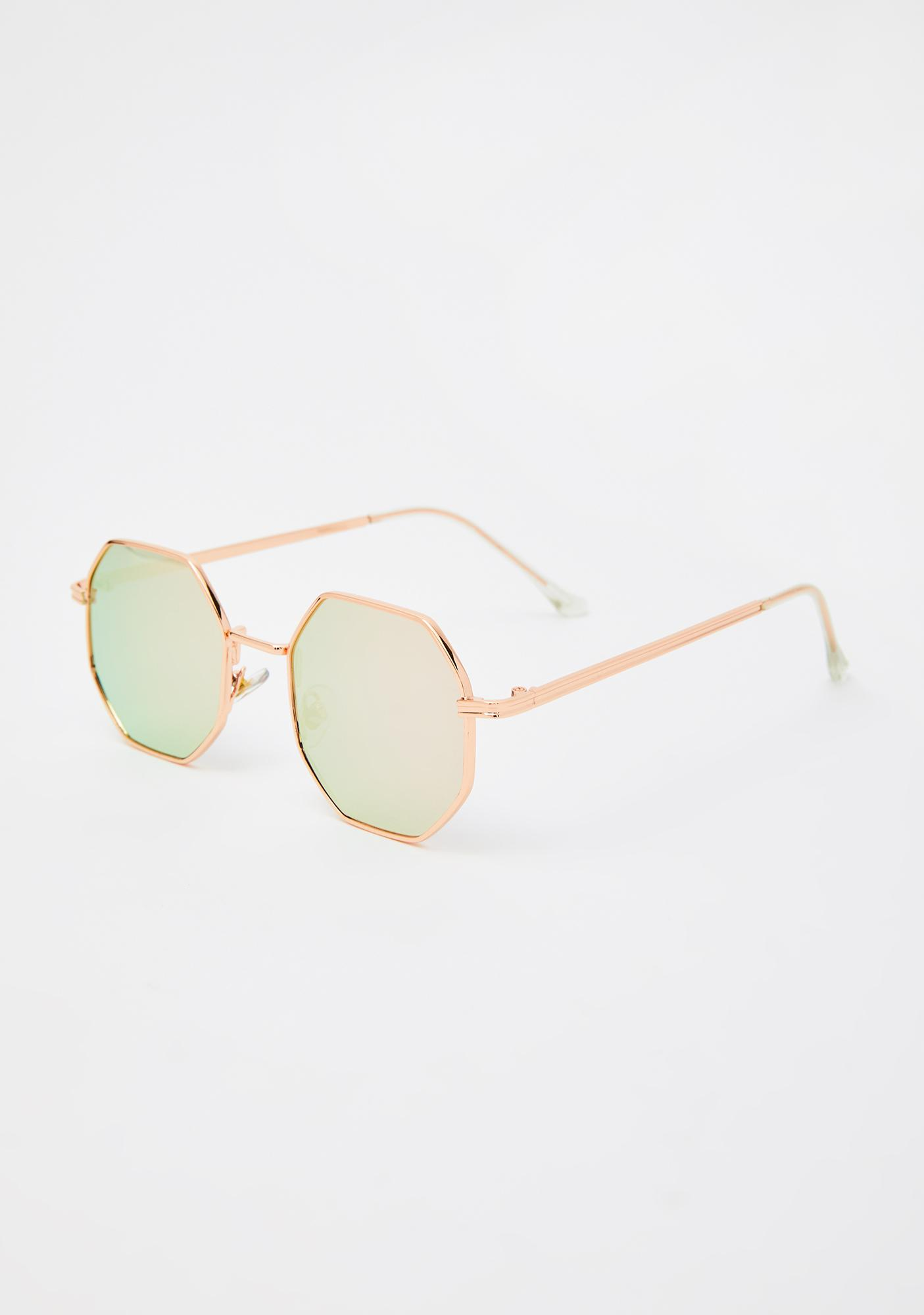 Champagne Flashy Girl Octagon Sunglasses