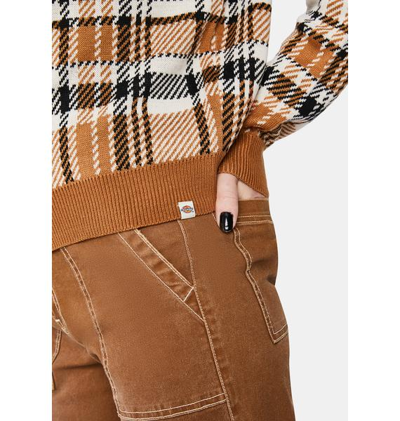 Dickies Girl Plaid Jacquard Crew Sweater