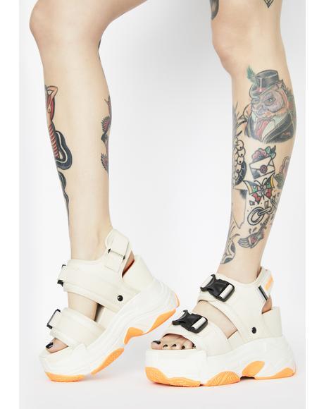 Beige Peach Platform Sandals