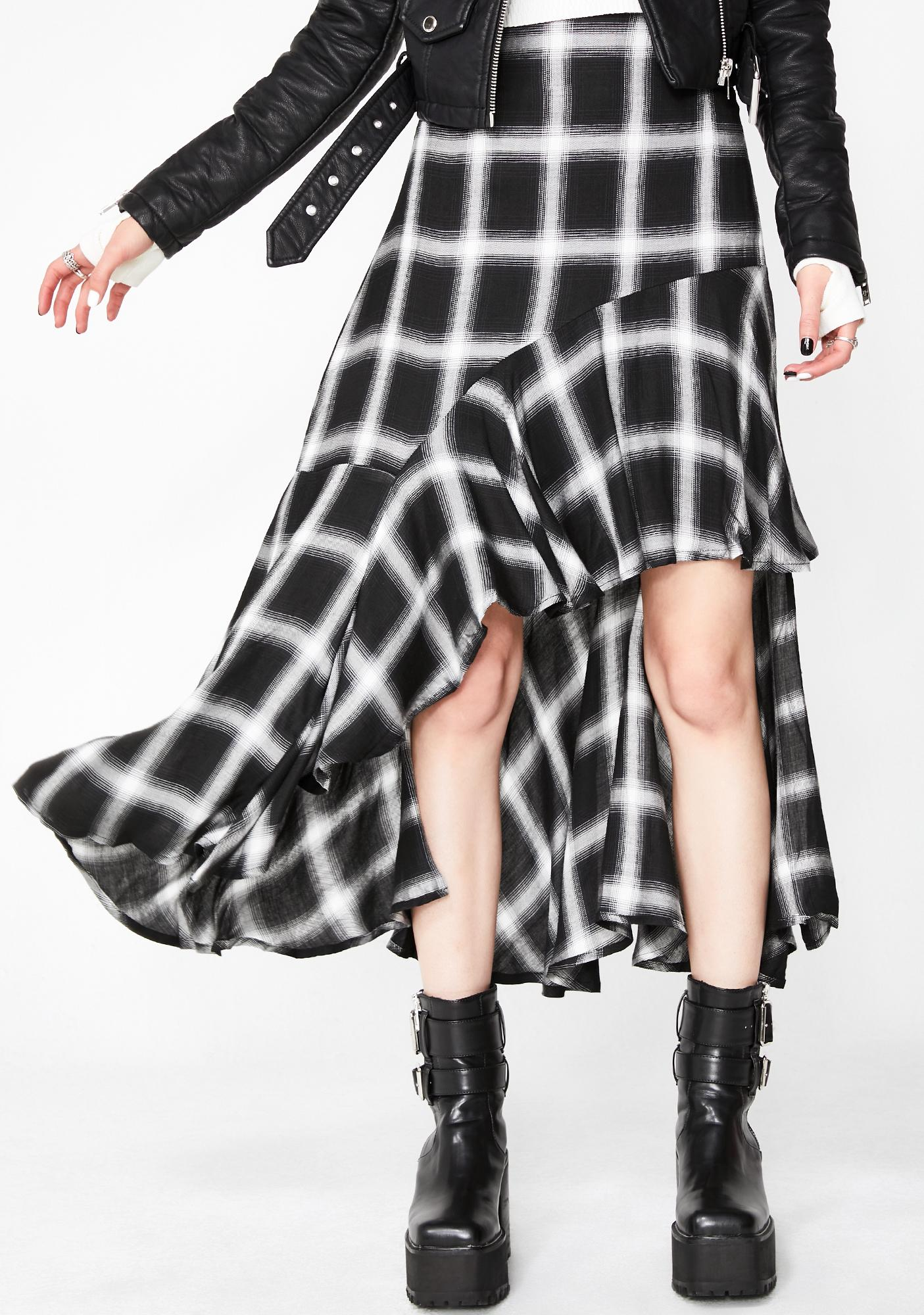 c43e0bb12d Black Plaid High Low Skirt | Dolls Kill