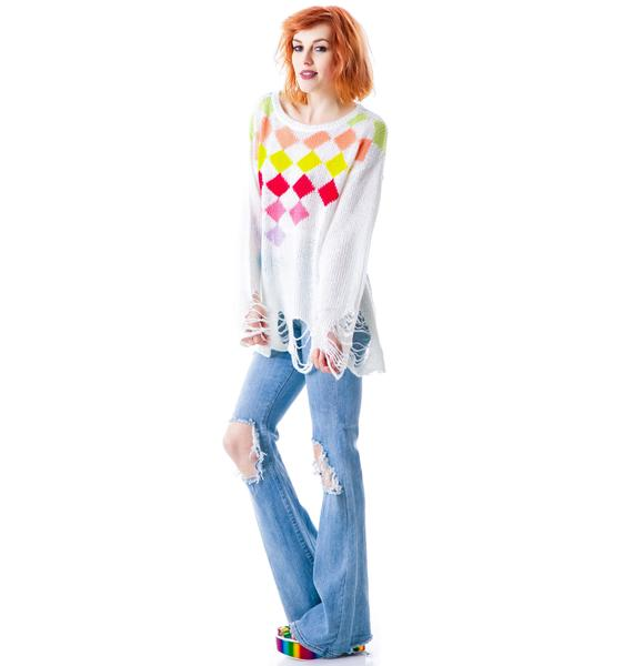 Wildfox Couture Rainbow Checkers Lennon Sweater