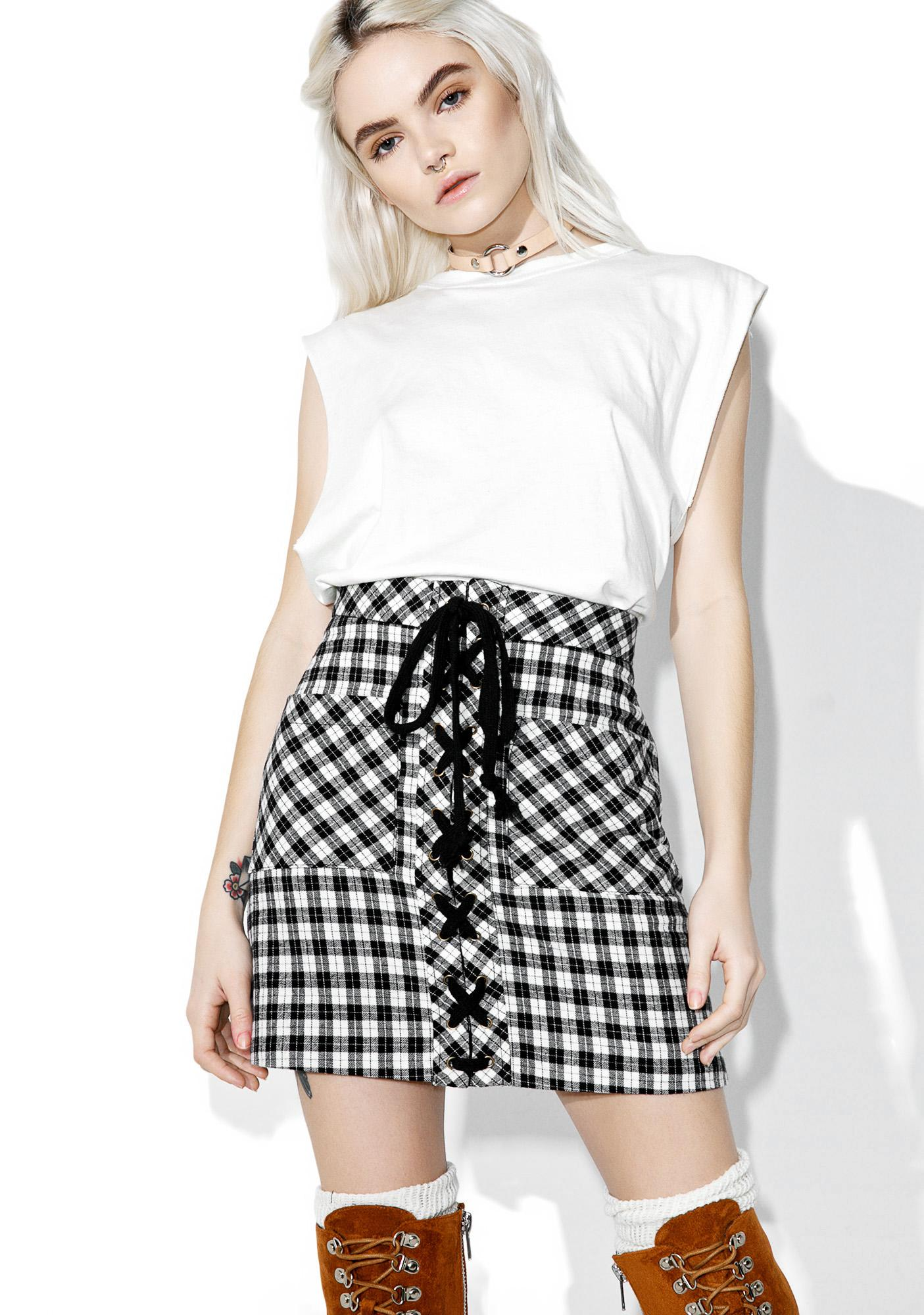 Full Tilt Plaid Lace-up Skirt