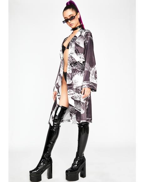 Never Play Nice Printed Kimono