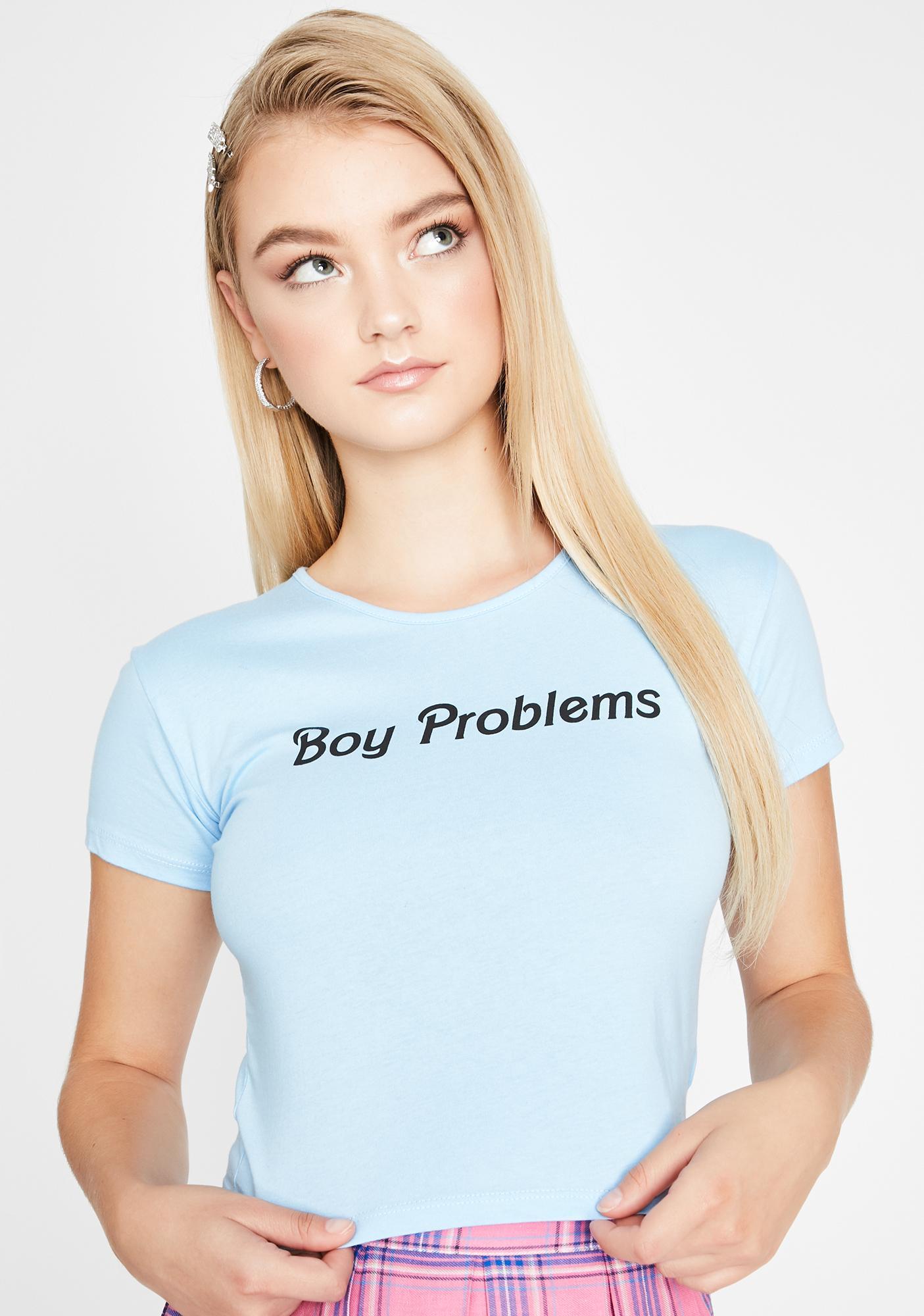 Sugar Thrillz Boy Problems Graphic Baby Tee