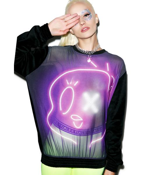 Coveted Society Space Trip Neon Tweet-E Crewneck