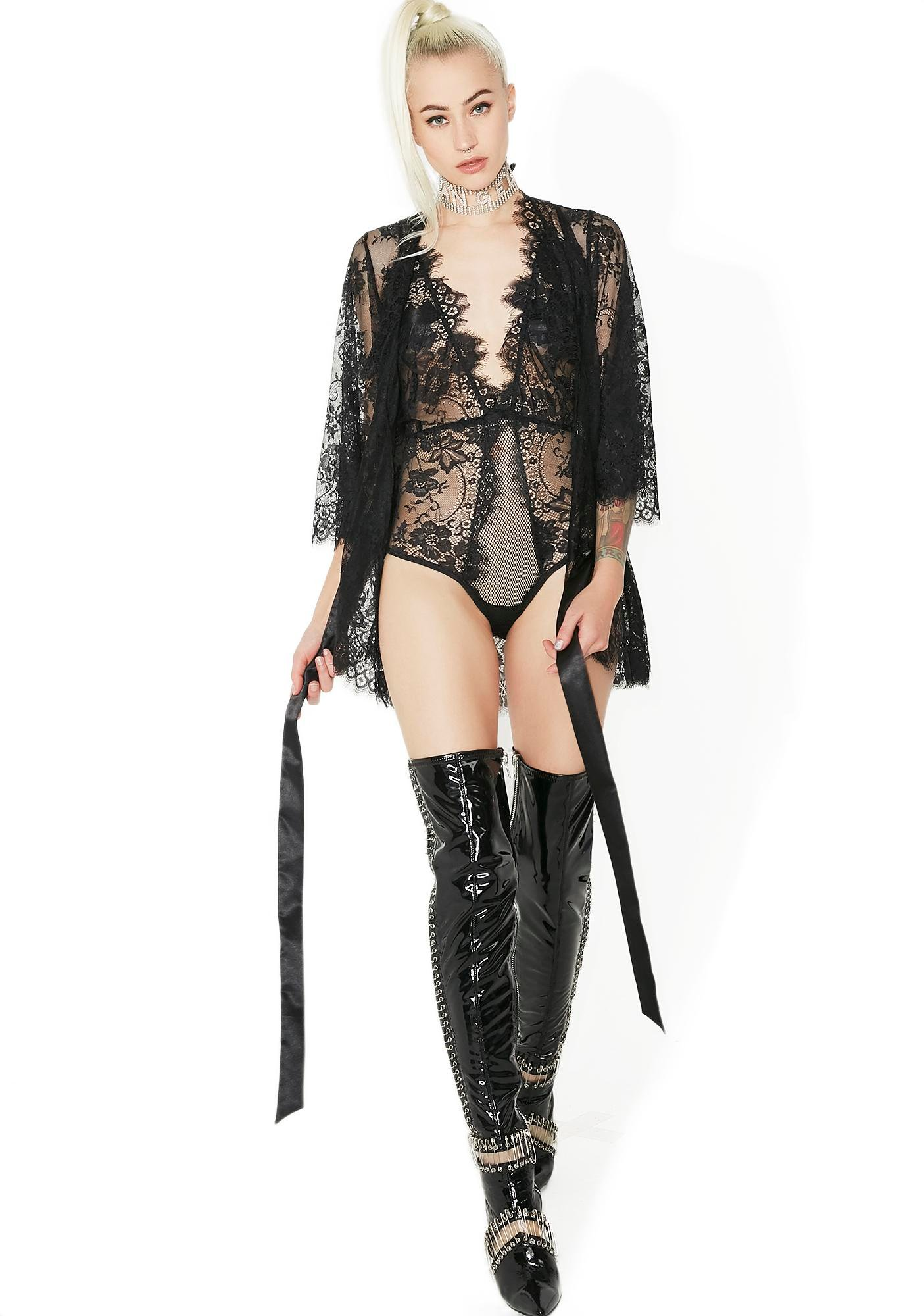 Wicked Nocturne Lace Robe