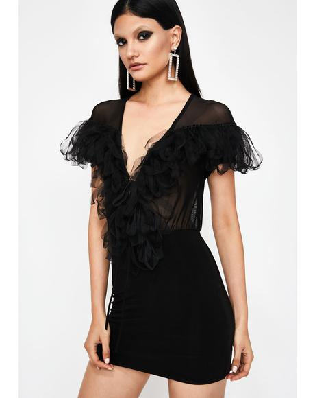 Noir Boss Up Fringe Dress