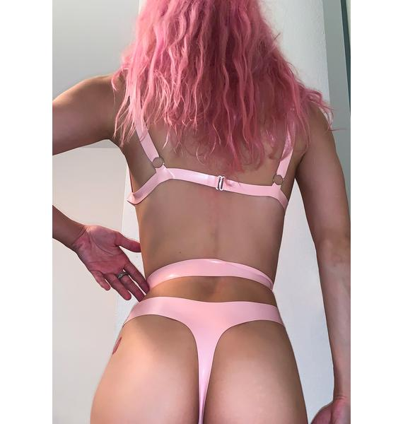 Elissa Poppy Baby Pink Latex Cut Out Thong