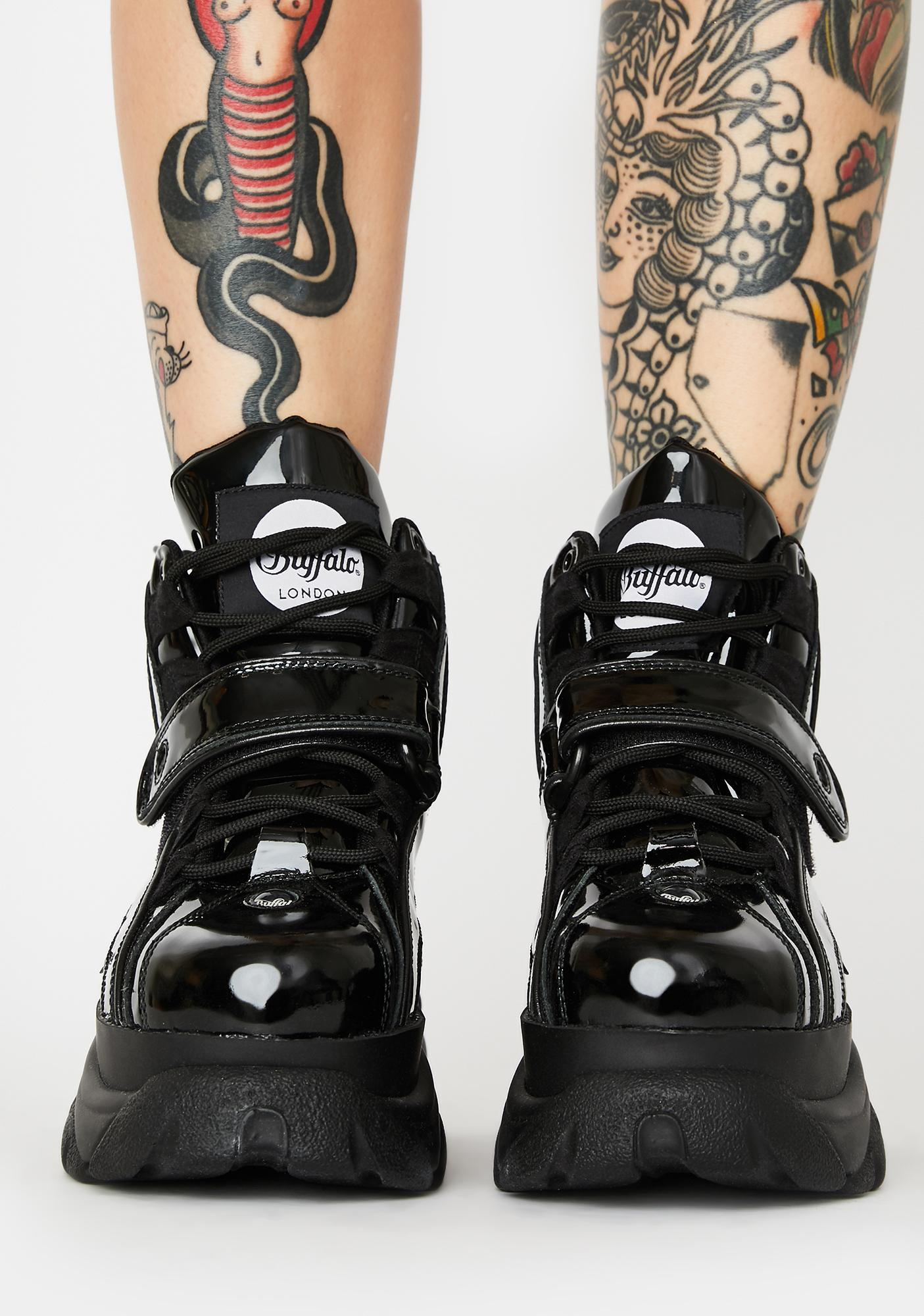 Buffalo London Classic High Patent Leather Sneakers