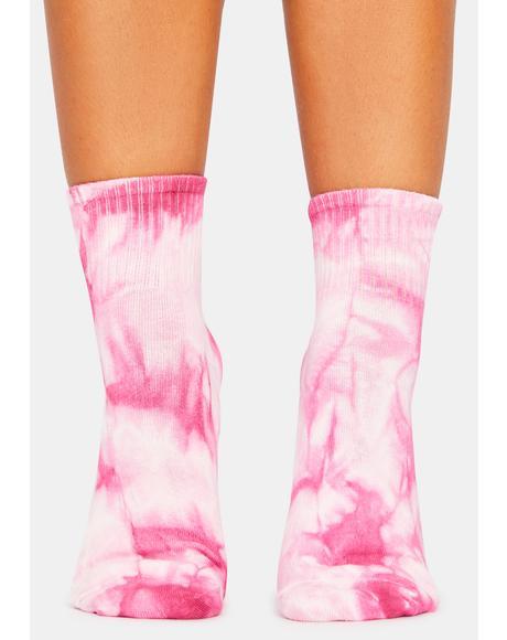 Rose Galactic Flower Crew Socks