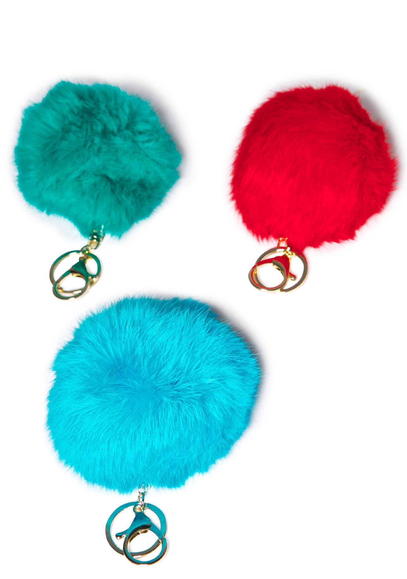 Clueless Blue Fluffy Pom Keychain