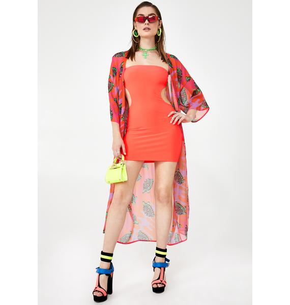 Coral Crushin' On Ya Cut-Out Dress