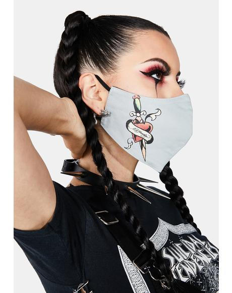 Heart And Dagger Face Mask