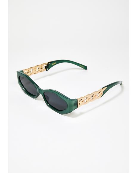 Green Ruby Gold Chain Sunglasses