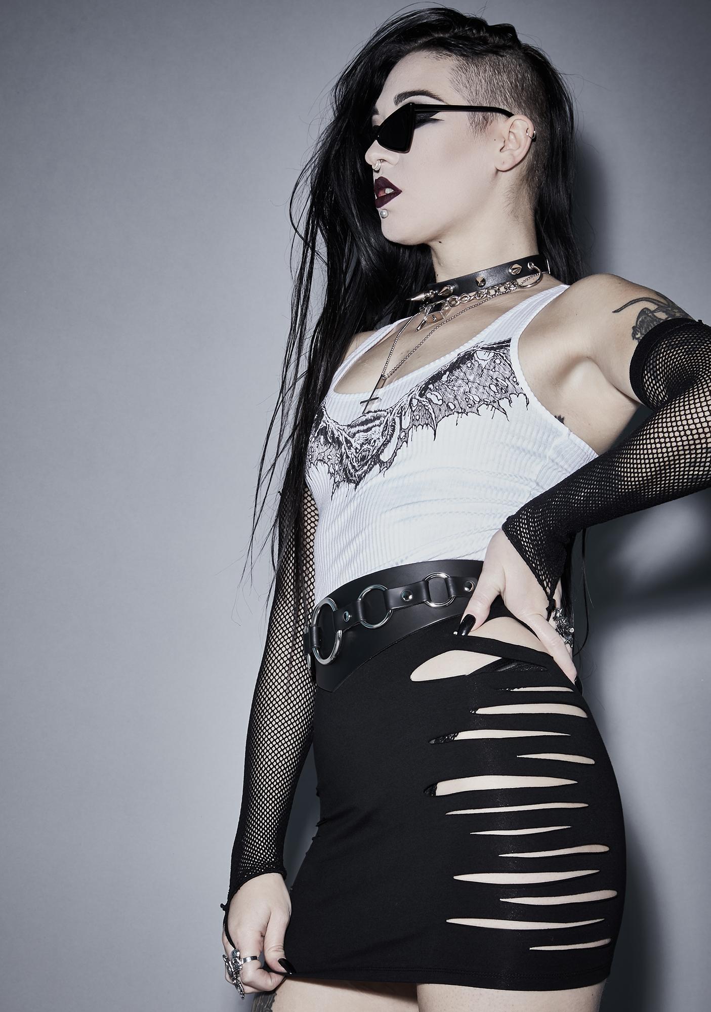 Widow Expect The Worst Shredded Skirt