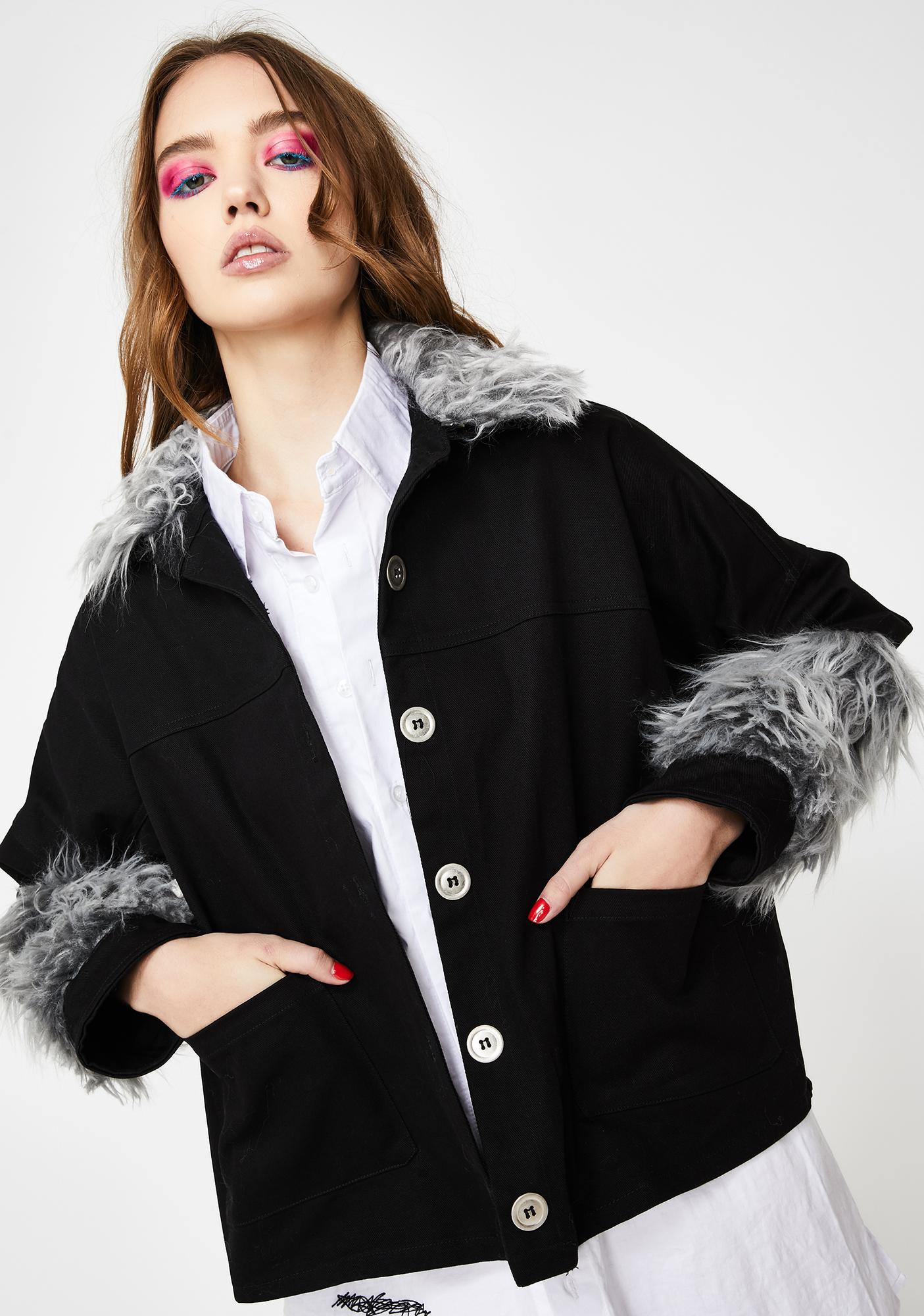 EastnWest Gray Fur Trim Denim Jacket