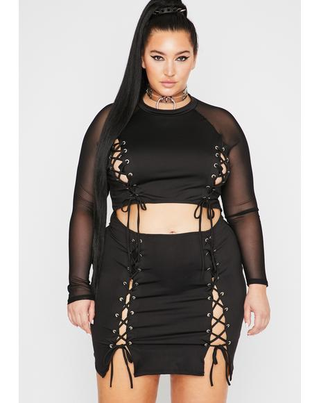 Her Viral Affair Lace-Up Dress