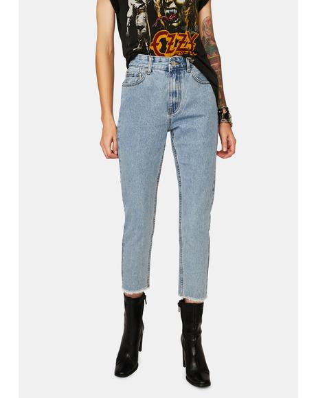 Mid Wash High Rise Mom Jeans