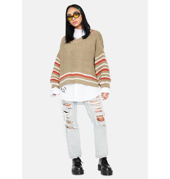 Fallen Cosmic Stripe Knit Sweater