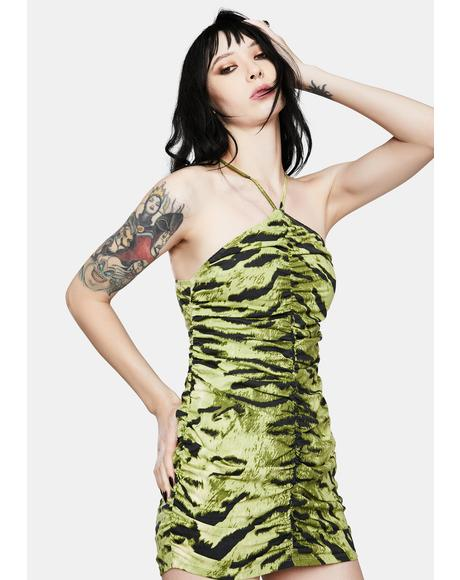 Larasati Khaki Tiger Bodycon Dress