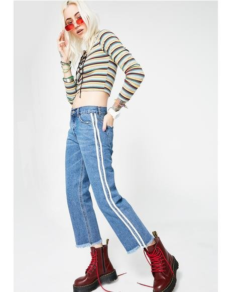 Fast Lane Striped Jeans