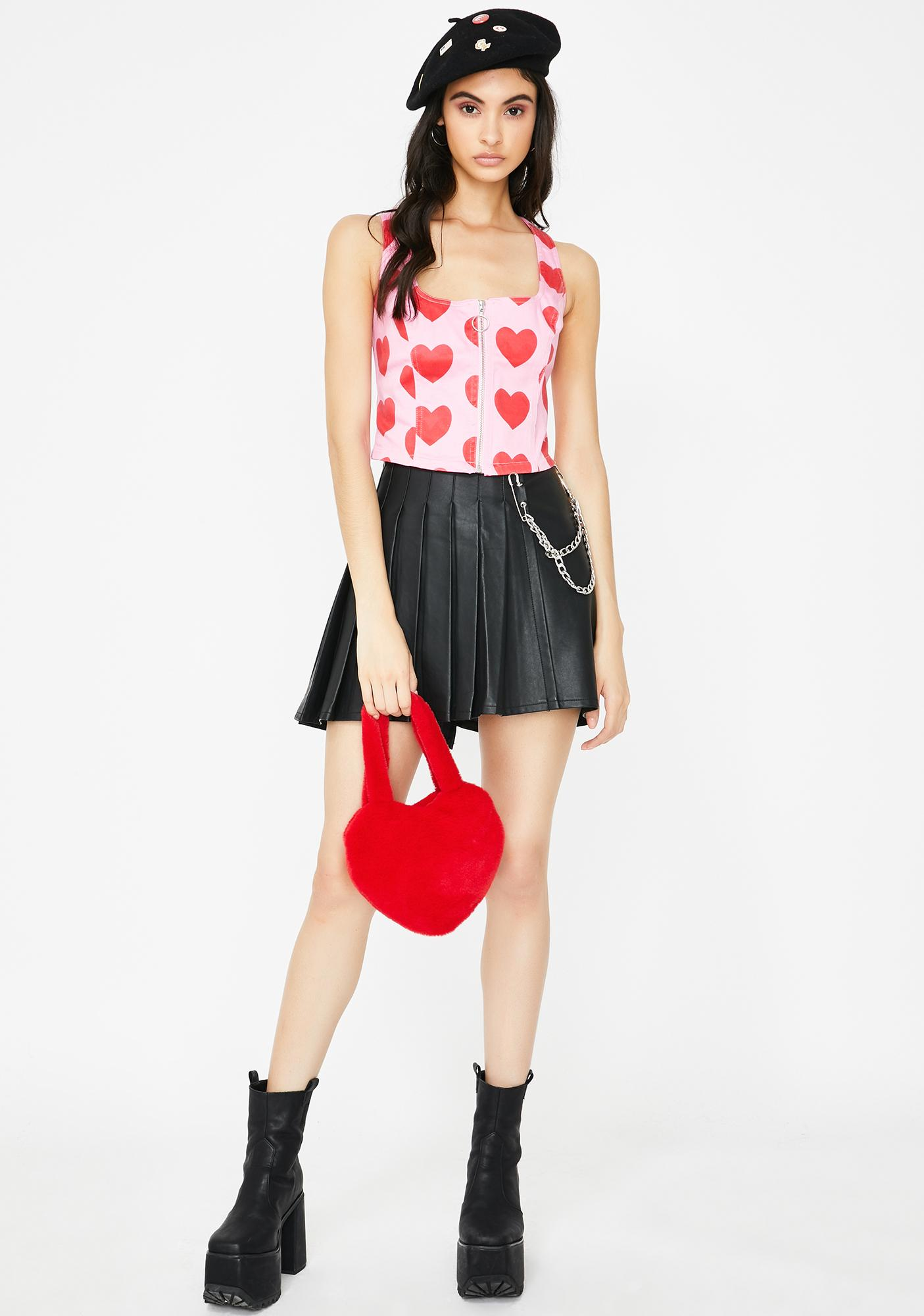Lazy Oaf I Heart Me Zip Up Corset Top