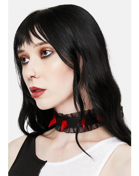 Sheer Ruffle Choker With Red Spikes