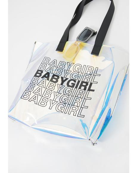 Babygirl Iridescent Tote Bag