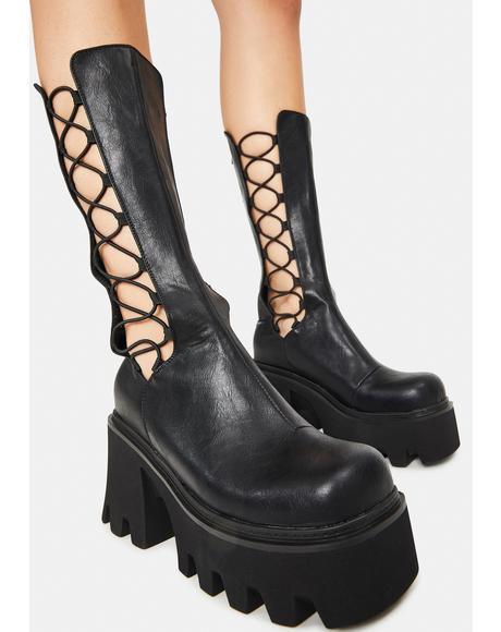 Vegan Leather Platform Lace Up Boots