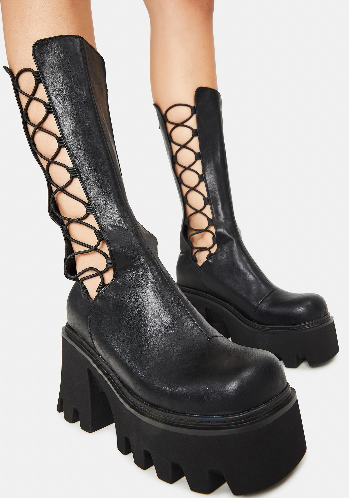 Lamoda Vegan Leather Platform Lace Up Boots