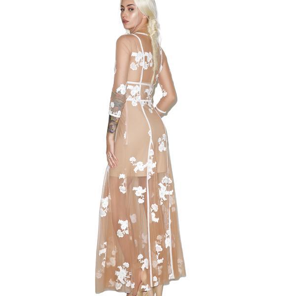 For Love & Lemons Nude Elenora Maxi Dress