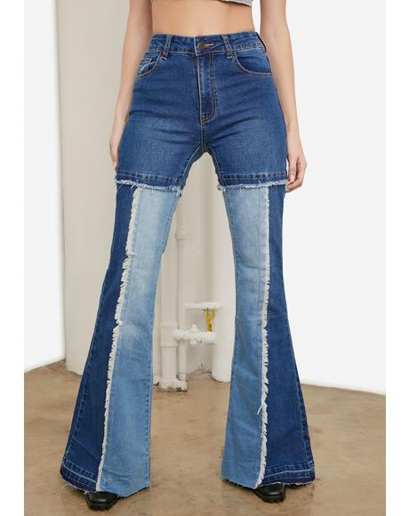 Far Out Patchwork Flare Jeans