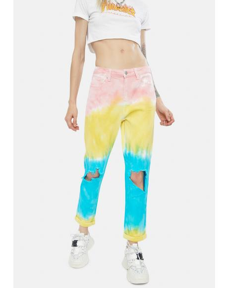 Super Stoked Distressed Tie Dye Jeans