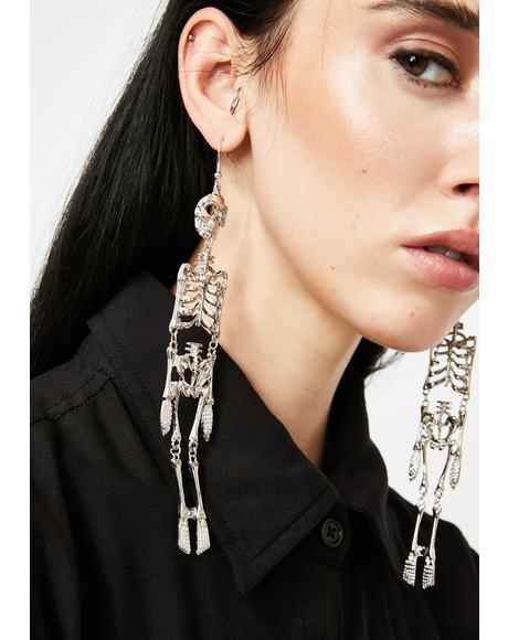Chrome Bone Rattling Skeleton Earrings
