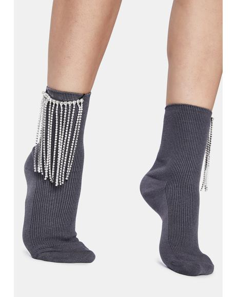 Stop And Stare Rhinestone Fringe Crew Socks