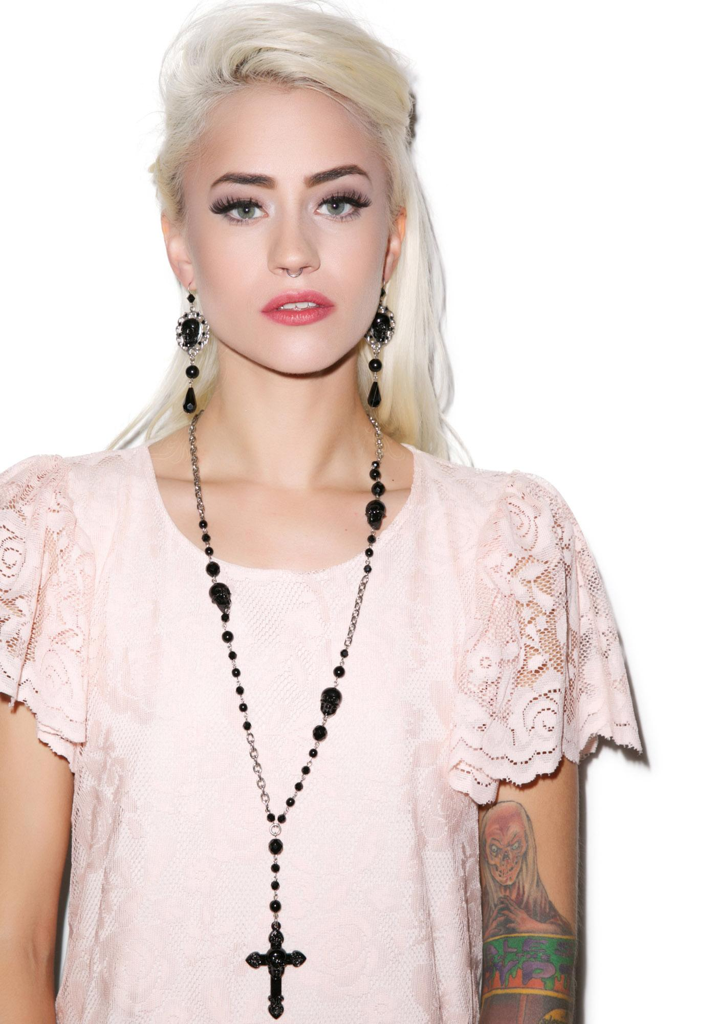 Tarina Tarantino Don't Cross Me Rosary Necklace