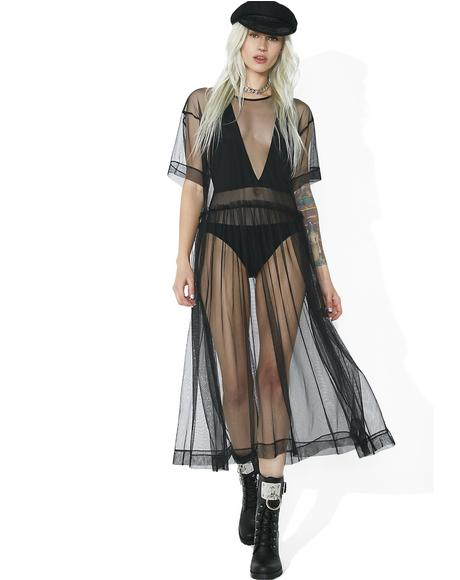 Last Dance Sheer Mesh Midi Dress