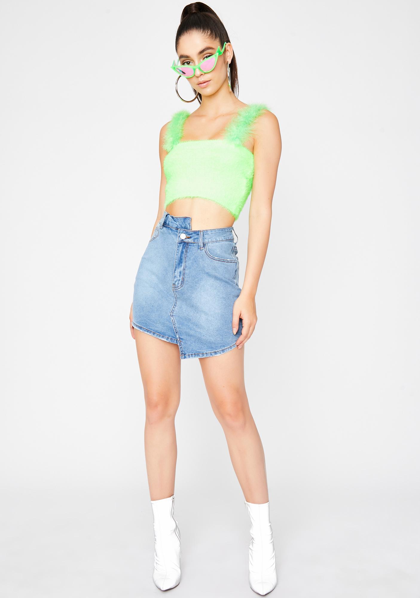 Lime Warm N' Fuzzy Crop Top