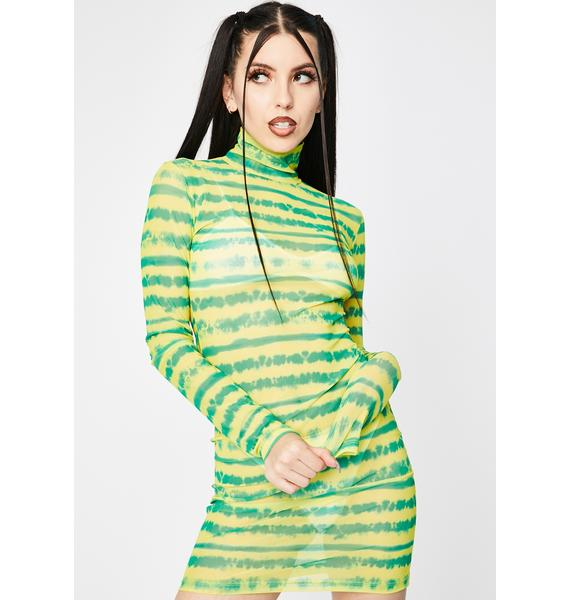 Kiki Riki Lime Drenched In Sunshine Mesh Dress
