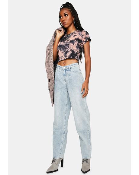 V-Waist Straight Leg Jeans