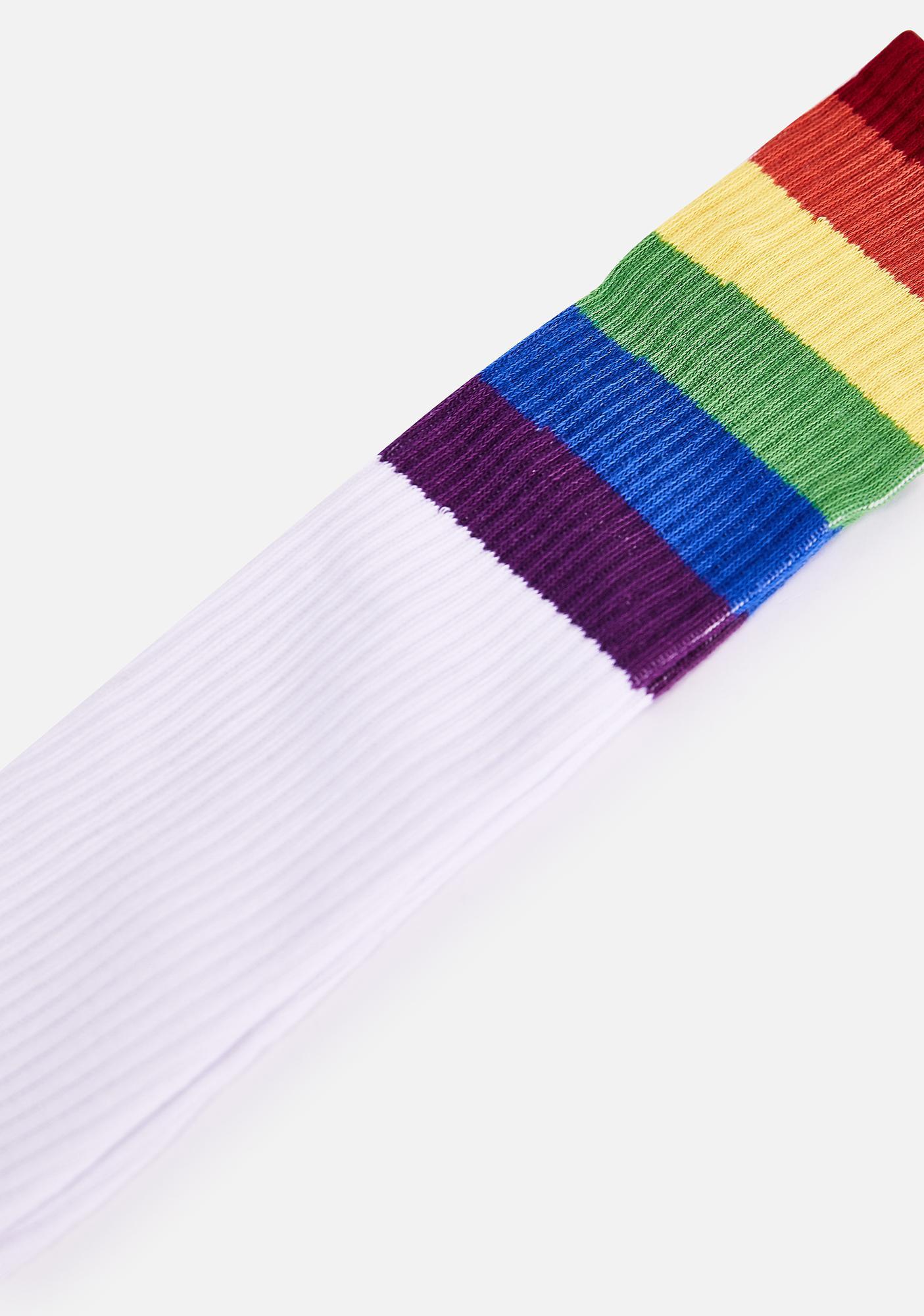 MeMoi Rainbow Rugby Knee High Socks